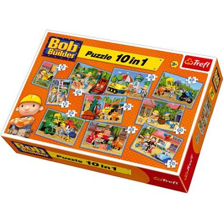 Trefl - 90170 - Puzzle - Bob Budowniczy - 10 w 1