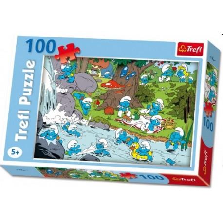 Trefl - 16168 - Puzzle 100 - Smerfy nad Rzeką