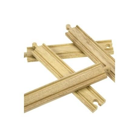 Bigjigs Toys - BJT100 - Zestaw 4 Torów Długich Prostych - do Kolejek Drewnianych