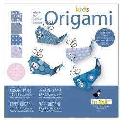 FRIDOLIN Zestaw do Origami z Naklejkami KIDS ORIGAMI Wieloryb Poziom Łatwy 11378