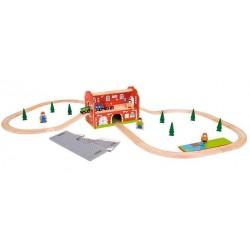 Bigjigs Toys - BJT024 - Dworzec Kolejowy do Kolejek Drewnianych
