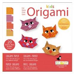 FRIDOLIN Zestaw do Origami z Naklejkami KIDS ORIGAMI Kot Poziom Łatwy 11371