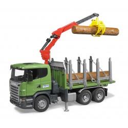 BRUDER Ciężarówka Scania do przewozu drzewa z dźwigiem HDS 03524