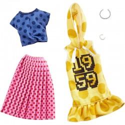 MATTEL Zestaw Ubranek dla Barbie + Akcesoria 2Pak W GROCHY GHX60