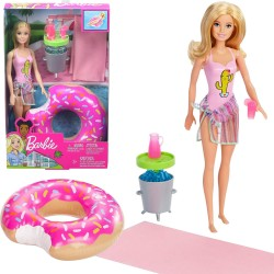 MATTEL Barbie Lalka z Akcesoriami Basenowymi GHT20