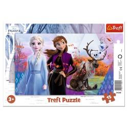 TREFL Puzzle na Podkładce w Ramce 15 Elementów Kraina Lodu Frozen MAGICZNY ŚWIAT ANNY I ELSY 31348