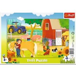 TREFL Puzzle na Podkładce w Ramce 15 Elementów NA FARMIE 31356