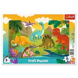 TREFL Puzzle na Podkładce w Ramce 15 Elementów DINOZAURY 31359