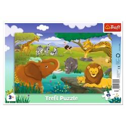 TREFL Puzzle na Podkładce w Ramce 15 Elementów SAWANNA 31357