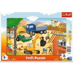 TREFL Puzzle na Podkładce w Ramce 15 Elementów NA BUDOWIE 31354