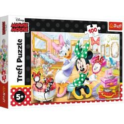 TREFL Układanka Puzzle 100 Elementów Minnie Mouse MYSZKA MINNIE W SALONIE KOSMETYCZNYM 16387