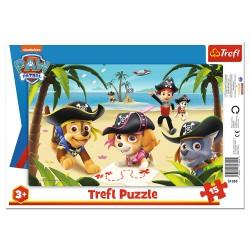 TREFL Puzzle na Podkładce w Ramce 15 Elementów PSI PATROL Przyjaciele z Psiego Patrolu 31350