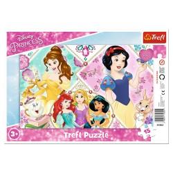 TREFL Puzzle na Podkładce w Ramce 15 Elementów DISNEY PRINCESS Urocze Księżniczki 31352