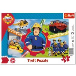 TREFL Puzzle na Podkładce w Ramce 15 Elementów STRAŻAK SAM Dzień Strażaka Sama 31351