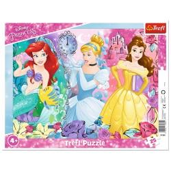 TREFL Puzzle na Podkładce w Ramce 25 Elementów DISNEY PRINCESS Magiczne Księżniczki 31360