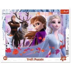 TREFL Puzzle na Podkładce w Ramce 25 Elementów FROZEN KRAINA LODU Przygody w Krainie Lodu 31345
