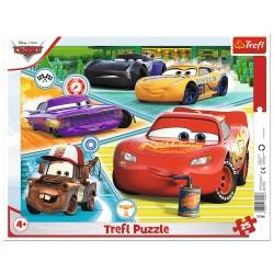 TREFL Puzzle na Podkładce w Ramce 25 Elementów CARS AUTA Zgrana Ekipa 31346