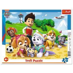 TREFL Puzzle na Podkładce w Ramce 25 Elementów PAW PATROL Psi Patrol na Tropie 31344