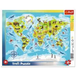 TREFL Puzzle na Podkładce w Ramce 25 Elementów Mapa Świata ze Zwierzętami 31340