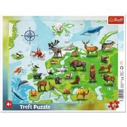 TREFL Puzzle na Podkładce w Ramce 25 Elementów Mapa Europy ze Zwierzętami 31341