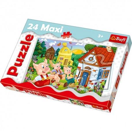 Trefl - 14185 - Puzzle 24 Maxi - Trzy Małe Świnki
