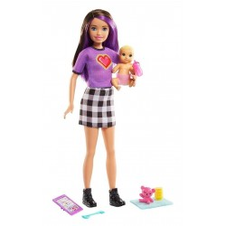 MATTEL Barbie Lalka Opiekunka + Bobas i Akcesoria GRP11