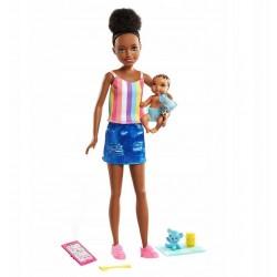 MATTEL Barbie Lalka Opiekunka + Bobas i Akcesoria GRP12