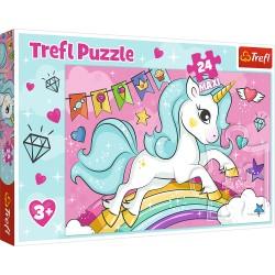 TREFL Puzzle Maxi Układanka 24 Elementy Jednorożec Unicorn SŁODKI JEDNOROŻEC 14302