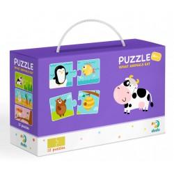 DODO Puzzle Duo 24 Elementy CO JEDZĄ ZWIERZĘTA Puzzle Dla Maluszków 300118