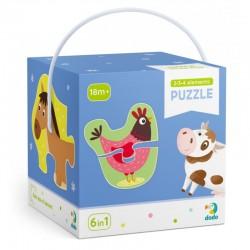 DODO Układanka Puzzle 6w1 Moje Pierwsze Puzzle 2-3-4 Elementy ZWIERZĘTA NA WSI Puzzle Dla Maluszków 300152