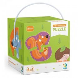 DODO Układanka Puzzle 6w1 Moje Pierwsze Puzzle 2-3-4 Elementy ZWIERZĘTA LEŚNE Puzzle Dla Maluszków 300195