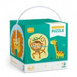 DODO Układanka Puzzle 6w1 Moje Pierwsze Puzzle 2-3-4 Elementy DZIKIE ZWIERZĘTA Puzzle Dla Maluszków 300153