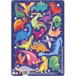 DODO Układanka Puzzle Na Podkładce Puzzle Ramkowe 53 Elementy Dinozaury 300181