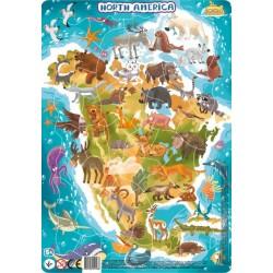 DODO Układanka Puzzle Na Podkładce Puzzle Ramkowe 53 Elementy Ameryka Północna 300177