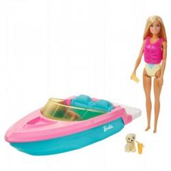MATTEL Barbie Motorówka + Lalka i Akcesoria GRG30