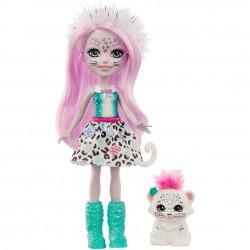 MATTEL Enchantimals Lalka i Zwierzątko Sybill Snow Leopard i Flake GJX42