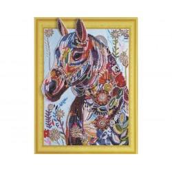 DIAMENTOWA MOZAIKA Diamond Painting 30x40 Koń w Kwiatach 04036
