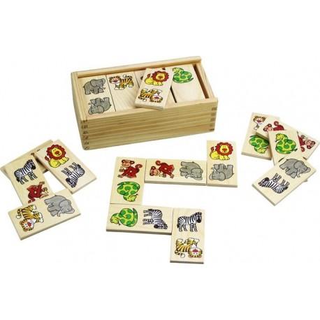 Bigjigs Toys - BJ737 - Gra - Układanka - Drewniane Domino - Safari