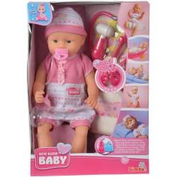 Simba New Born Baby LALKA BOBAS Z DŹWIĘKIEM + Akcesoria Lekarskie 3558