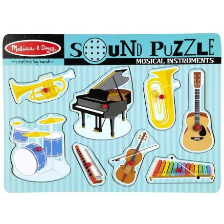 Melissa & Doug - 10732 - Drewniana Układanka - Puzzle z Dźwiękiem 8 - Instrumenty