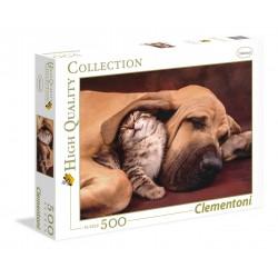 CLEMENTONI Układanka Puzzle 500 Elementów High Quality Collection PIES Z KOTEM 35020