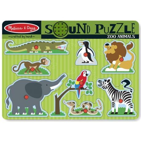 Melissa & Doug - 10727 - Drewniana Układanka - Puzzle z Dźwiękiem 8 - Zoo