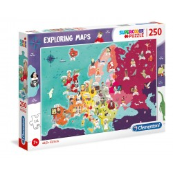 CLEMENTONI Układanka Puzzle 250 Elementów SuperColor Mapa Europy SŁYNNIK LUDZIE 29061