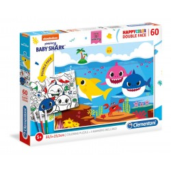 CLEMENTONI Układanka Puzzle + Kolorowanka 60 Elementów SuperColor Double Face BABY SHARK 26093