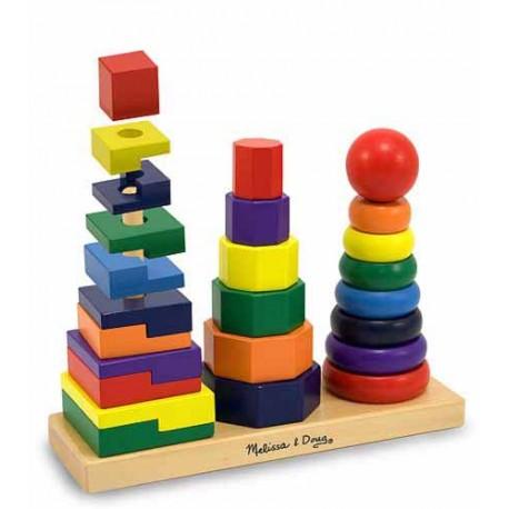 Melissa & Doug - 10567 - Układanka - Piramidka Potrójna - Trzy Drewniane Piramidki