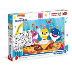 CLEMENTONI Układanka Puzzle + Kolorowanka 60 Elementów HappyColor Double Face BABY SHARK 26095