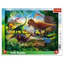 TREFL Puzzle na Podkładce w Ramce 25 Elementów DINOZAURY 31343