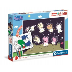 CLEMENTONI Układanka Puzzle + Kolorowanka 60 Elementów HappyColor Double Face ŚWINKA PEPPA 26096