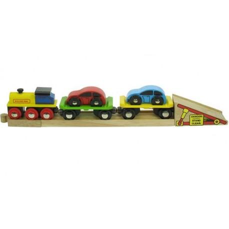 Bigjigs Toys - BJT199 - Pociąg Laweta - do Przewożenia Autek