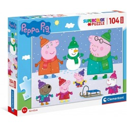 CLEMENTONI Układanka Puzzle Maxi 104 Elementy SuperColor ŚWINKA PEPPA 23752